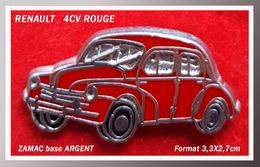 SUPER PIN'S RENAULT : Belle 4CV ROUGE En Zamac Base Argent, Format 3,3X2,7cm - Renault