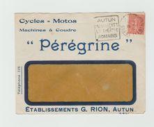 """LSC - Enveloppe Publicitaire """"Cycles=Motos Machines A Coudre PEREGRINE + Cachet DAGUIN - AUTUN - Poststempel (Briefe)"""