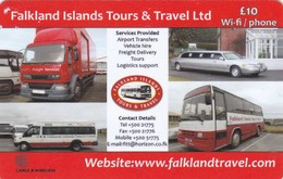 Falkland Islands, FK-C&W-PRE-0061, Tours & Travel Ltd, Busses, Car, Truck, 2 Scans - Falkland Islands