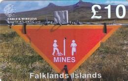 Falkland Islands, FK-C&W-PRE-0040, £10, Minefield Sign, 2 Scans - Falkland Islands