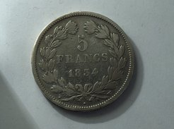 France 5 Francs 1834 W LOUIS PHILIPPE I IIe TYPE DOMARD Silver, Argent Franc - J. 5 Francs