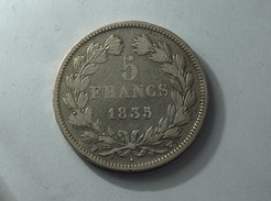 France 5 Francs 1835 W LOUIS PHILIPPE I IIe TYPE DOMARD Silver, Argent Franc - J. 5 Francs