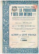 Action Ancienne - Minière Belge La Productora Y Coto San Antonio - Titre De 1913 - Mines