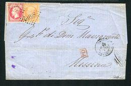 Rare Lettre Du BFE De Smyrne ( Turquie ) Pour Messine En Sicile ( 1867 ) - Marcophilie (Lettres)
