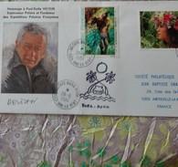 POLYNESIE Enveloppe 1er Jour Avec Signature Autographe Paul Emile Victor - Brieven En Documenten