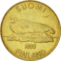 Finlande, 5 Markkaa, 1993, TB+, Aluminum-Bronze, KM:57 - Finland