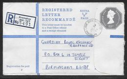 Great Britain - 23p + 1/2p  Registered Stationery Envelope - G Size - Used Birmingham Uprated 1974 - Entiers Postaux