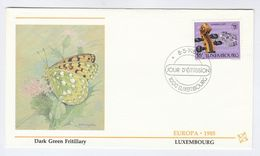 1985 LUXEMBOURG FDC Stamps EUROPA MUSIC Cover Illus Insect Butterfly Butterflies - FDC
