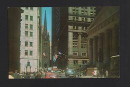 NEW YORK WALL STREET 1960s STREET SCENE CARS CAR Automobiles USA POSTCARD Z1 - Wall Street