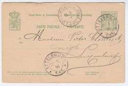 1891 Ettelbruck LUXEMBOURG  POSTAL STATIONERY CARD Cover Stamps - Stamped Stationery