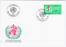 Switzerland Swiss Schweiz Svizzera Helvetia 1986 FDC Organisation Mondiale De La Sante, WHO, OMS - FDC