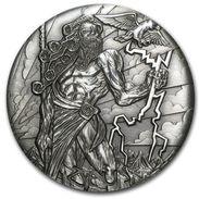 2014 Tuvalu 2 Ounces Silver Gods Of Olympus Zeus (High Relief). - Tuvalu