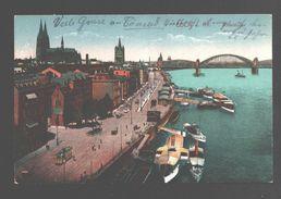 Köln - Rheinufer - Feldpost - Ovaler Stempel 'Bahnpost ZUG 1524' 1917 - Cachet Chemin De Fer / Railway - Koeln