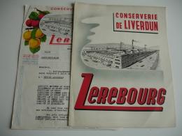 Lot De 2 Conserverie Liverdun Lerebourgavec Tarif Et Etiquette Facture - France