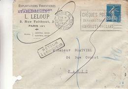 France - Lettre De 1921 - Oblit Paris Bd Des Italiens - Exp Vers Paris - Publicité Chèques Postaux - Covers & Documents