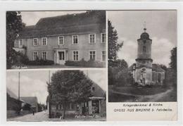 39096080 - Brunne Bei Fehrbellin Mit Schloss, Fehrbelliner Strasse Und Kirche Mit Kriegerdenkmal Gelaufen, 1938 Kleiner - Deutschland