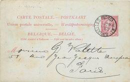 BELGIQUE- ENTIER POSTAL 1889, Voir Cachet Au Dos. - Entiers Postaux