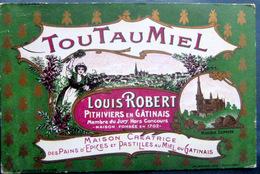 45 PITHIVIERS APICULTURE TOUTAUMIEL  LOUIS ROBERT PAINS D'EPICES MIEL  ABEILLE RUCHES BELLE CARTE COMMERCIALE DOREE - Pithiviers