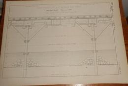 Plan Du Pont Provisoire De Saint Germain Des Fossés Sur L'Allier. 1857. - Public Works
