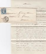 LETTRE. 22 JANVIER 1855. MARNE REIMS POUR EPENSE. VERSO PERLÉ GIVRY-EN-ARGONNE  / 779 - Poststempel (Briefe)