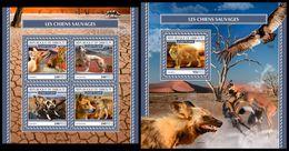 DJIBOUTI 2017 - Wild Dogs M/S + S/S. Official Issue. - Briefmarken