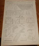 Plan De Charpentes Et Couvertures.Tuiles Muller. 1857. - Public Works