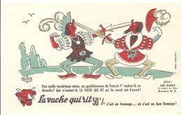 Buvard La Vache Qui Rit Série Les Duels à Travers Les Ages Buvard N°5 Illustré Dubout Ces Gentils Hommes De François 1er - Dairy