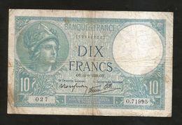 FRANCE - BANQUE De FRANCE - 10 Francs MINERVE (OT. 14 - 9 - 1939) - 1871-1952 Antichi Franchi Circolanti Nel XX Secolo