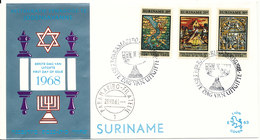 Suriname FDC 28-8-1968 Complete Set Of 3 Jewish Synagogue With Cachet - Surinam ... - 1975