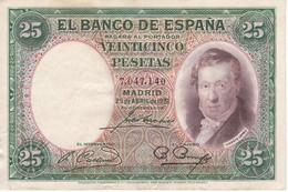 BILLETE DE ESPAÑA DE 25 PTAS DEL AÑO 1931 SIN SERIE EN CALIDAD MBC (VF) - [ 2] 1931-1936 : Republiek