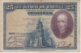 BILLETE DE ESPAÑA DE 25 PTAS DEL AÑO 1928 SIN SERIE CALIDAD RC  (BANKNOTE) - 1-2-5-25 Pesetas
