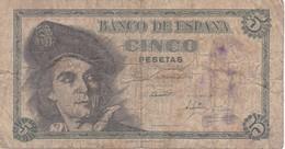 BILLETE DE ESPAÑA DE 5 PTAS DEL 1948 SERIE J CALIDAD RC (BANKNOTE) - 5 Pesetas