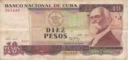 BILLETE DE CUBA DE 10 PESOS DEL AÑO 1991 DE MAXIMO GOMEZ  (BANKNOTE) - Cuba