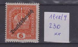 """Österreich 1918: Aufdruck """"Deutschösterreich"""" Nr.230 Postfrisch - 1918-1945 1ra República"""