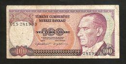 TURKEY - NATIONAL BANK - 100 LIRA (1970) - Turchia