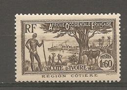 COTE IVOIRE - Yv.  N°  159  *   1f60  Région Cotière  Cote 1,2 Euros  BE 2 Scans - Ungebraucht