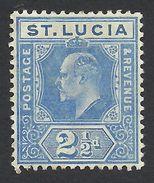 St. Lucia, 2 1/2 P. 1907,  Sc # 59, Mi # 49, MH. - St.Lucia (...-1978)