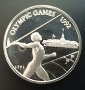 "SAMOA 10 TALA 1991 SILVER PROOF ""Olympics Games 1992"" Free Shipping Via Registered Air Mail. - Samoa"