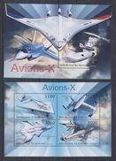 BURUNDI 2012 - Transports, Avions X - Feuillet 4 Val + BF Neufs // Mnh // CV 36.00 Euros - Burundi