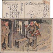 Allemagne 1917. Carte Franchise Militaire. Pneumatiques Continental.  Facteur Militaire Cycliste. Vélo, Banc En Bois - Vélo