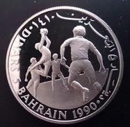 "BAHRAIN 5 DINARS 1990 SILVER PROOF "" Save The Children"" Free Shipping Via Registered Air Mail - Bahreïn"