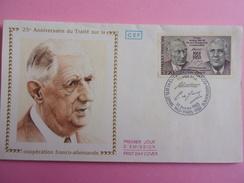 FRANCE FDC 1988 YVERT 2501 CHARLES DE GAULLE ET ADENAUER - 1980-1989