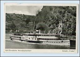 W8G85/ Dampfer Frieden Köln-Düsseldorfer Rheindampfschiffahrt Foto AK 1951 - Koeln