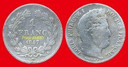 France Louis-Philippe I Tête Laurée 453 TB 1847A De 1 Franc 23mm Tranche Striée, 5gr Argent 900°/oo Graveur Joseph-Franç - France