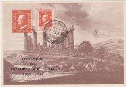 331 - CENTENARIO DEL FRANCOBOLLO DI SICILIA 1959 TEMPIO DI GIUNONE IN AGRIGENTO - Borse E Saloni Del Collezionismo