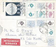 Belgium 1975 Ixelles Apollo Moon Landing Stamp Booklet Express Cover - Brieven & Documenten