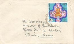 Bhutan 1977 Thimpu Buddha Banner Colombo Plan Domestic Cover - Bhutan
