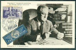 CM-Carte Maximum Card # 1947-Monaco #  Célébrités # Président Franklin ROOSEVELT , Examining His Stamps Collection - Cartas Máxima