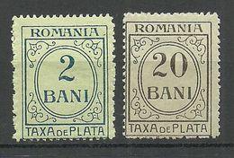 ROMANIA Rumänien 1911/30, 2 Portomarken Postage Due * - Portomarken