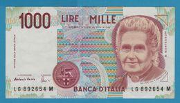 ITALIA 1000 LIRE 3.10.1990 Serial # LG....M  P# 114c Maria Montessori - [ 2] 1946-… : Républic